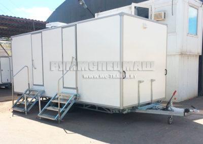 передвижной прицеп туалет на 6 кабинок